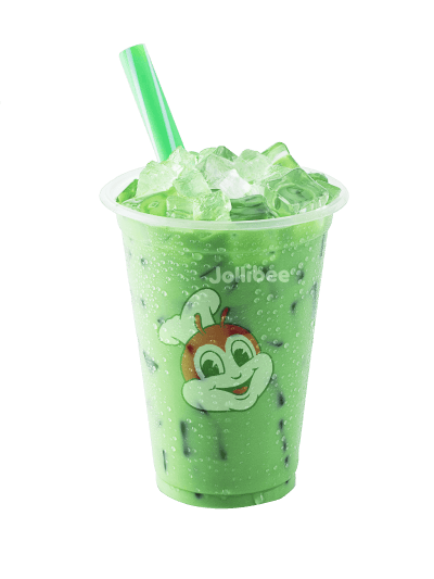 Green milk tea with jelly